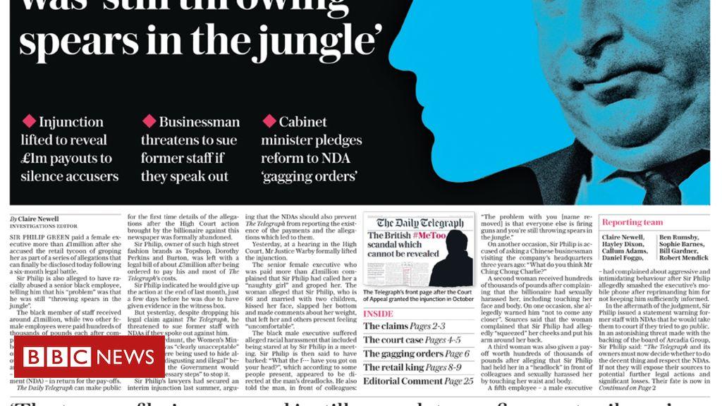 105579524 telegraph - Newspaper headlines: Sir Philip's 'humiliation' and Bezos 'blackmailed'