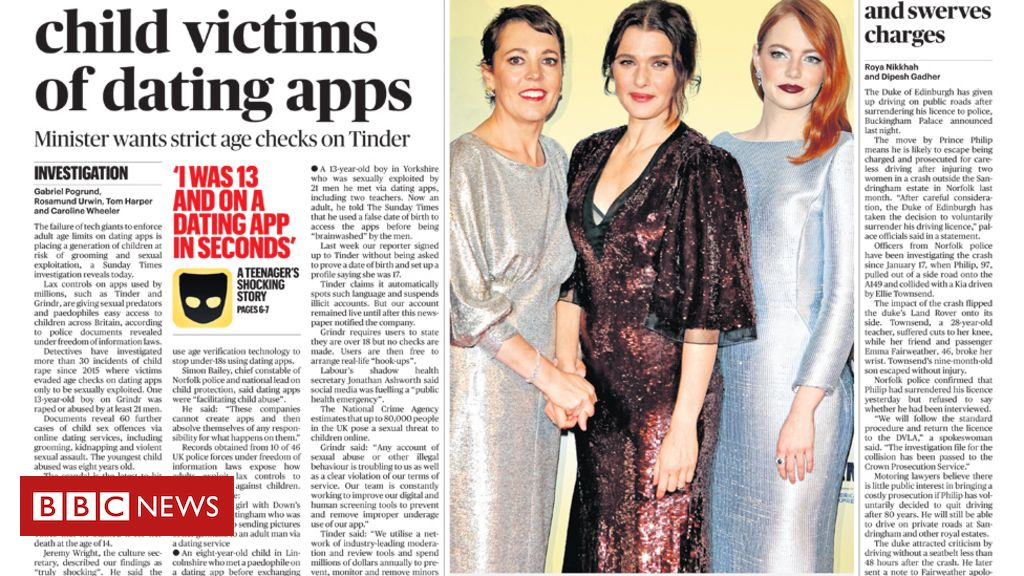 105587598 sundaytimes - Newspaper headlines: 'Child victims of Tinder', and more Brexit plots
