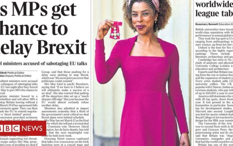 105815336 the times front page feb 27 - Newspaper headlines: May's Brexit delay vote and February's hot weather
