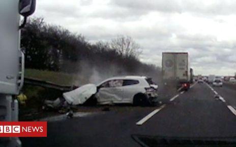106074513 p073ws5d - M1 Milton Keynes: 'Amazing' escape from lorry and car crash