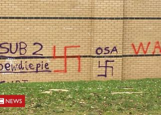 106120255 graffiti - Two boys questioned over Oxford school swastika graffiti