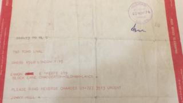 Jimmy Hill's telegram to Eamonn