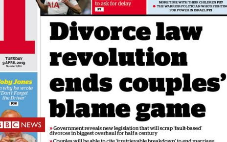 106354203 thei - Newspaper headlines: Divorce shake-up and PM 'told she is problem'