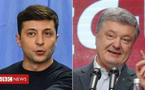 106412435 ukrainecombo - Ukraine election rivals trade taunts and media tricks