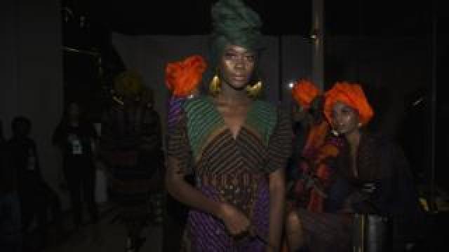 A model wearing Rama Diaw's design at Dakar Fashion Week in Dakar, Senegal