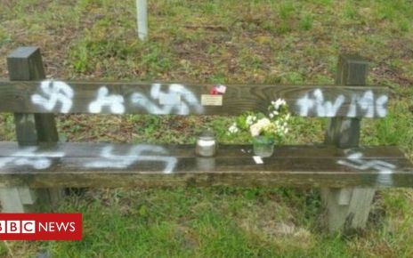 107322532 swastikas - Swastikas sprayed on D-Day veterans' bench at Twyford Woods