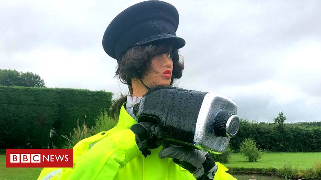107832930 scarecrowd ediepope - Scarecrow police officer slows speeding drivers in Lydiate