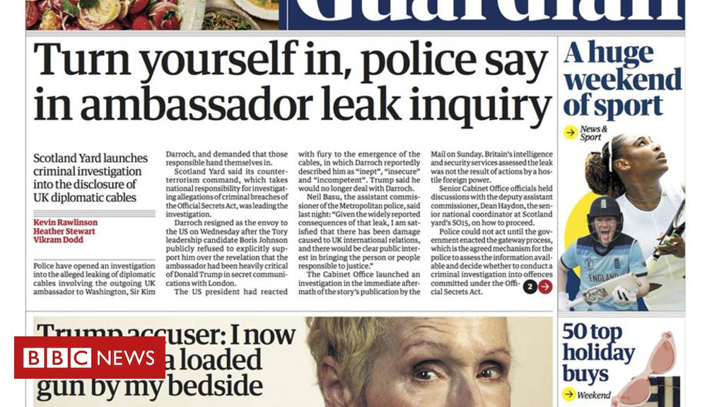 107858428 guardianfrontpage - Newspaper headlines: Probe into Trump email 'leak' and new sleeping advice