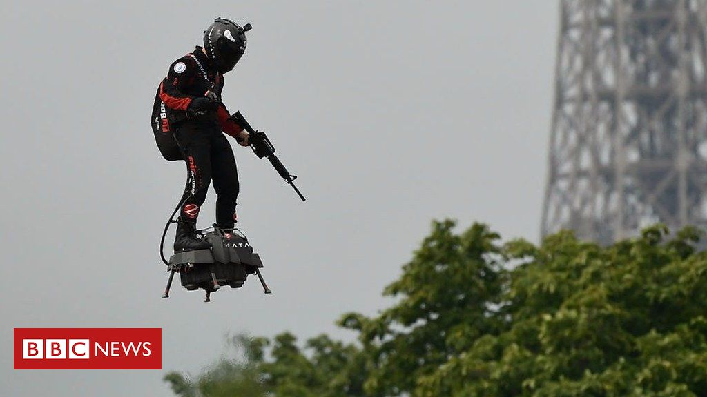 107874885 p07gwcrx - Bastille Day: Flyboard takes part in military display