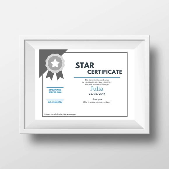 Star Naming Certificate 1