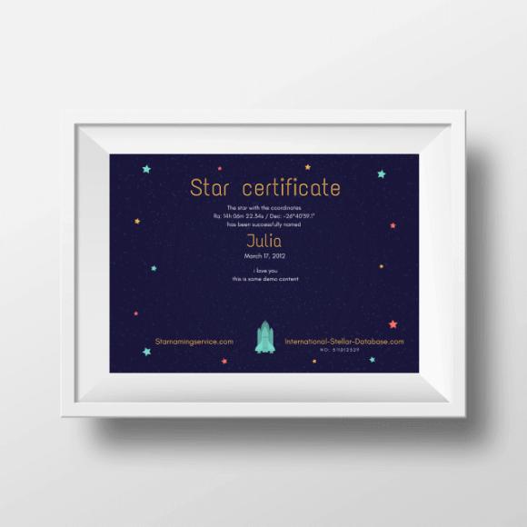 Star Naming Certificate 2