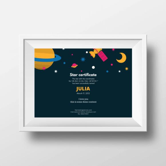Star Naming Certificate 3