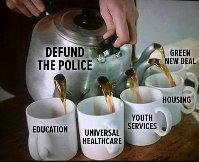 Defund the police and fund education, universal healthcare, youth services, housing, and the Green New Deal.