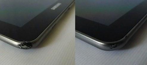 Углы планшета побитые во время падения фото