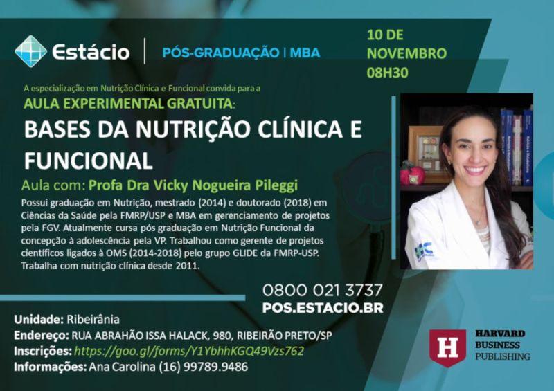 Estácio promove aula experimental gratuita sobre bases da nutrição clínica e funcional