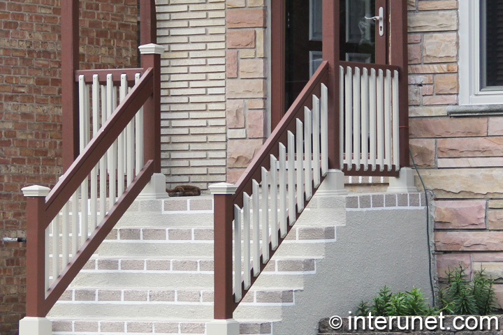 combination of concrete porch with wood