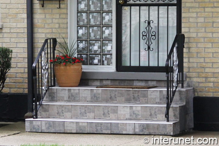 Tile on steps and small porch
