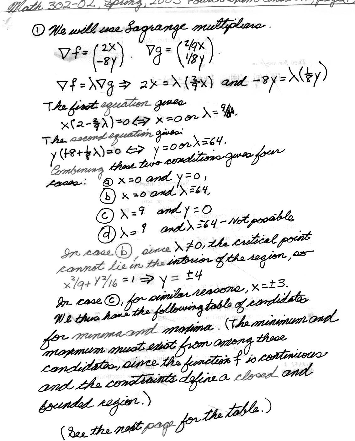 Math 302-02, Springl, 2003 Exam Hints and Answers