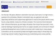 Professor Advocating Re-colonisation Retains Article Despite Apologizing