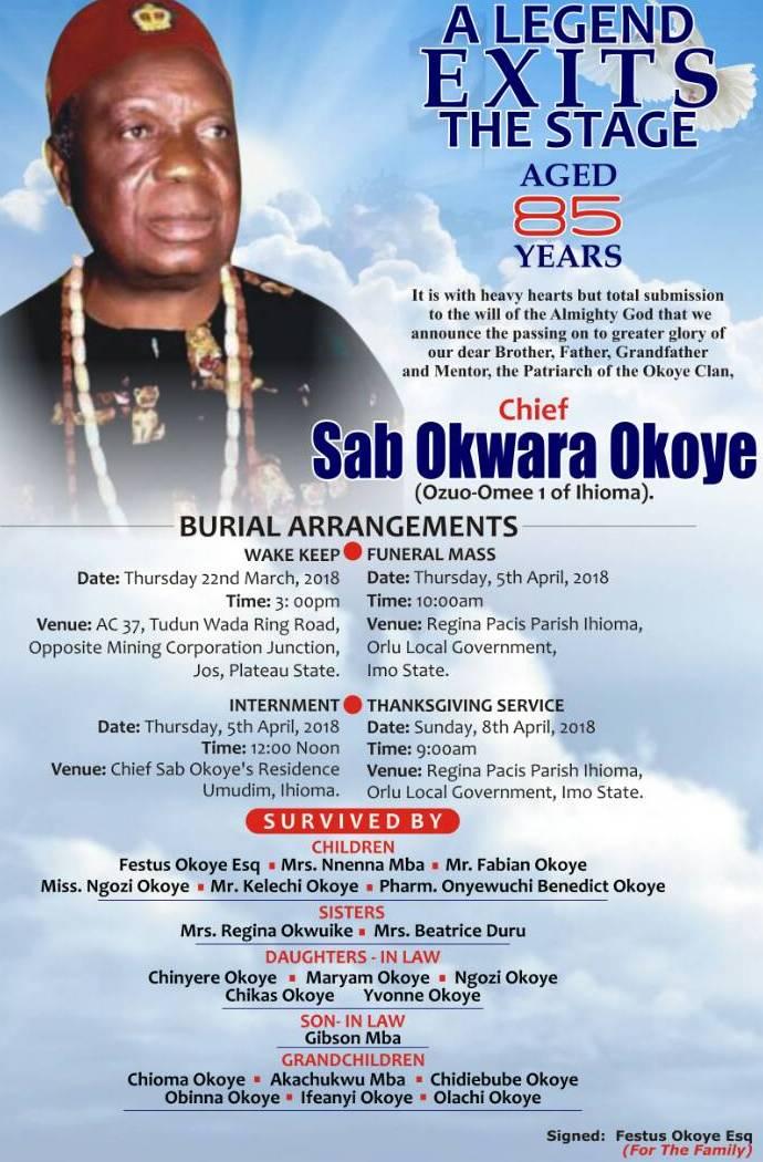 Chief Sab Okwara Okoye and Burial as Re-enactment