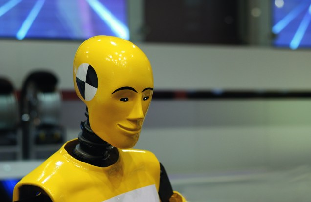 portrait of yellow crash test dummy