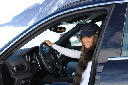 Influencer Marta Gonzalez behind the wheel of a Maserati Levante - Snow Polo World Cup St Moritz 2018 (1)