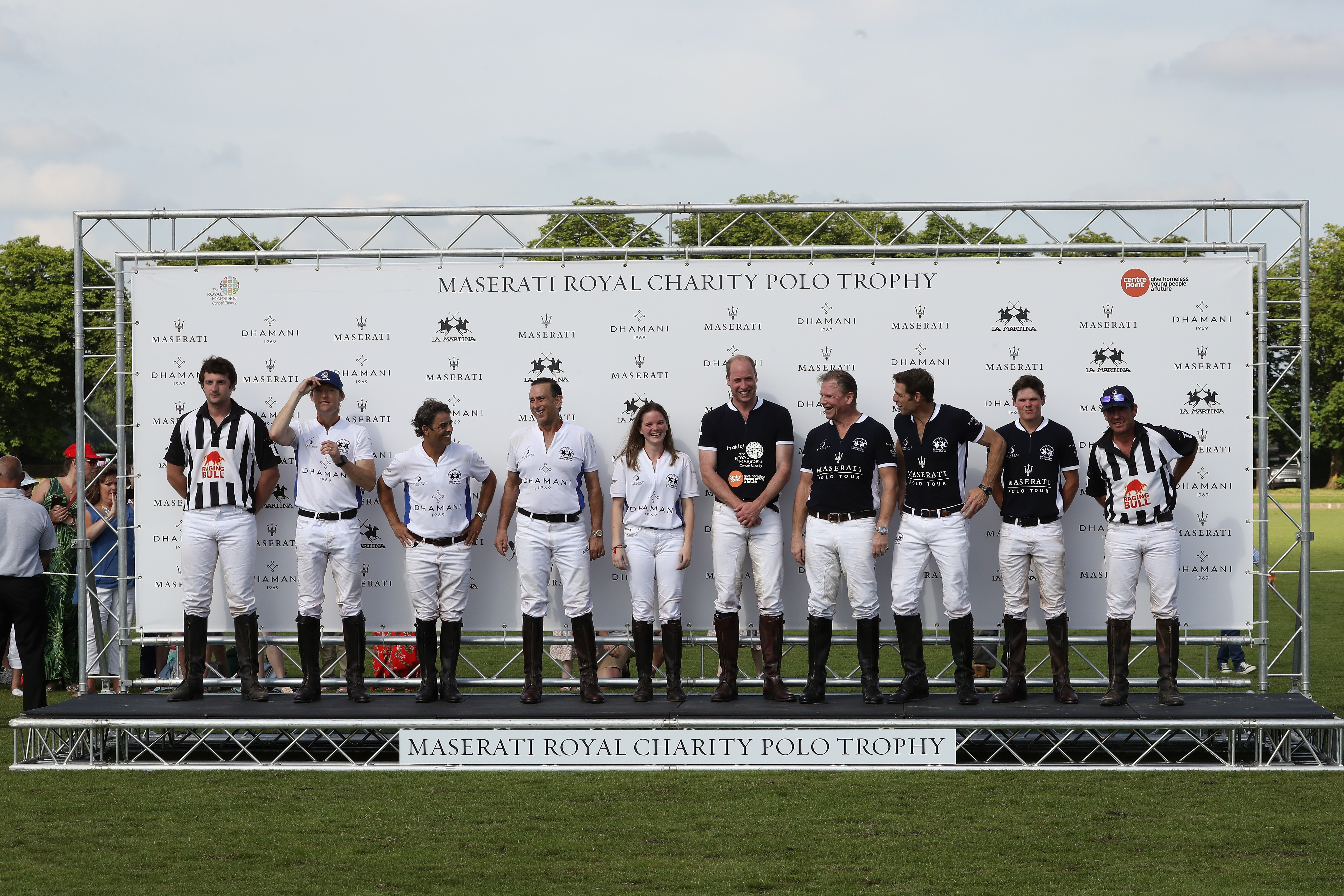 TETBURY, ENGLAND - JUNE 10: Maserati Royal Charity Polo Trophy 2018 – Team photo including Prince William, Duke of Cambridge (5thR) and Malcolm Borwick (3rdR) following the Maserati Royal Charity Polo Trophy 2018 at Beaufort Polo Club on June 10, 2018 in Tetbury, England. (Photo by Chris Jackson/Getty Images for Maserati / La Martina) *** Local Caption *** Prince William; Duke of Cambridge; Malcolm Borwick