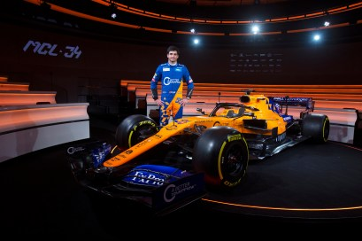 Carlos Sainz with MCL34 at the 2019 Launch event