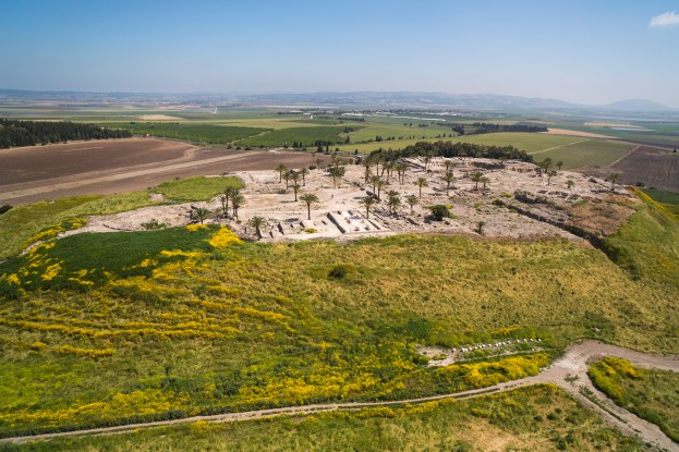Megiddo, or Tel Megiddo, is the site of an ancient city in northern Israel's Jezreel valley. It is believed to be the place where the battle of Armageddon will be fought. The picture shows an aerial view of Tel Megiddo. Photo by Itamar Grinberg.