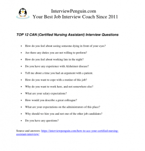 TOP 12 CNA Interview Questions for 2019 with Sample Answers