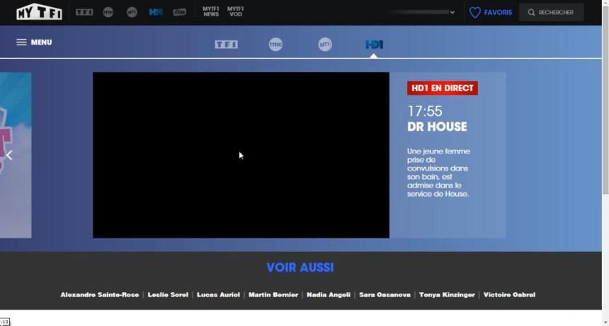 direct HD1 live stream écran noir, bloqué