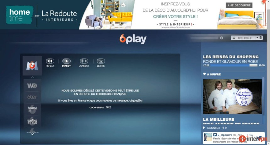 6play, M6 direct live stream erreur : code 542 , W9 bloqué