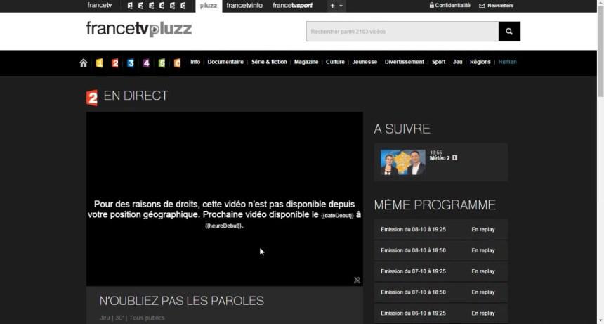 france tv pluzz, France 2 direct live stream video non disponible position geographique , W9 bloqué