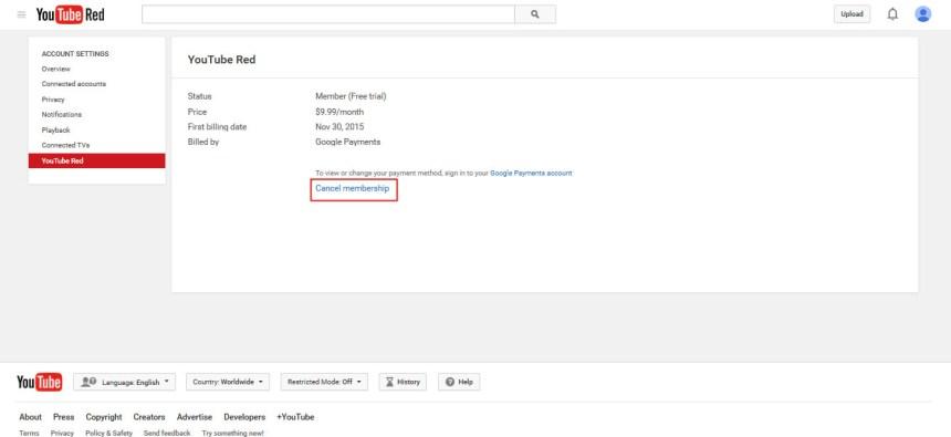 compte gratuit Youtube Red hors des Etats Unis USA