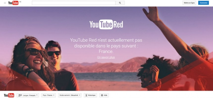 Youtube Red in France - regarder débloquer youtube red en france