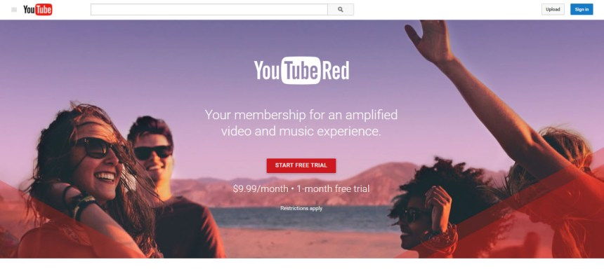 Youtube Red page accueil accéer réussi