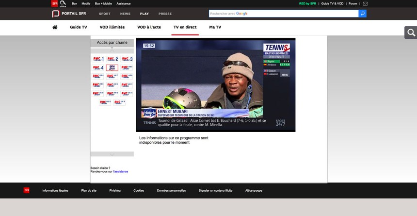 stream RMC Sport abroad france