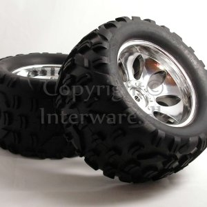 Chromfælge m. dæk til 1/5 monster 6