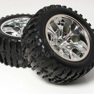 Chromfælge m. dæk til 1/10 Monster 3