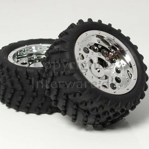 Chromfælge m. dæk til 1/16 monster 5