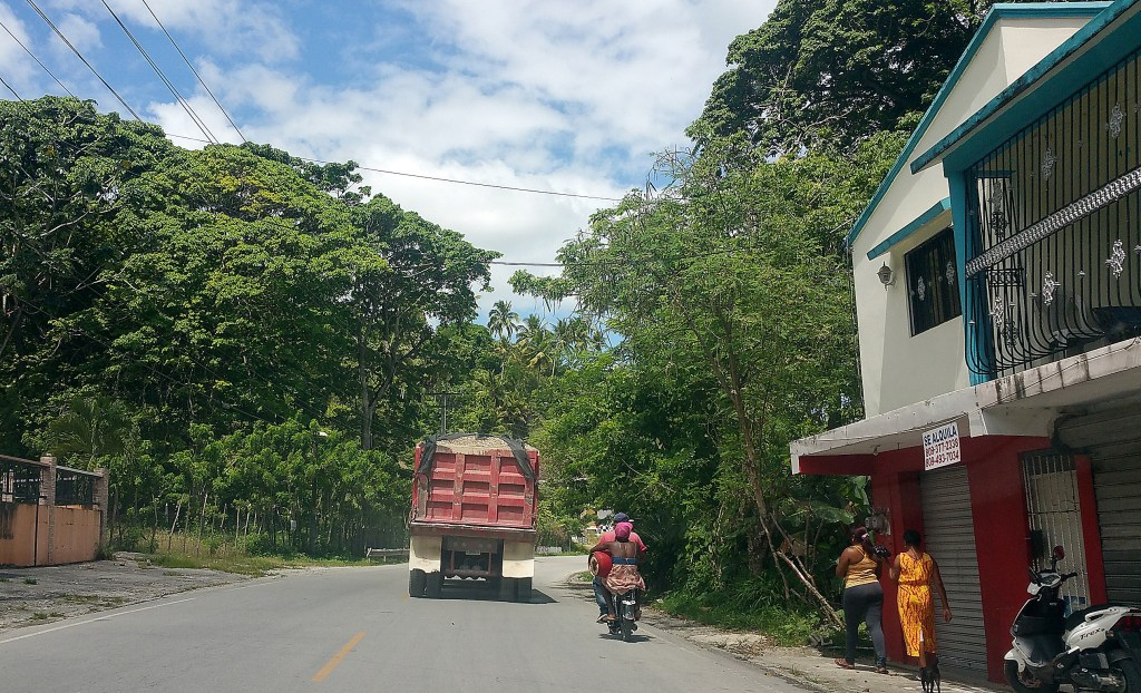 Tree-lined road in Samana behind couple carrying fuel tank on motorbike