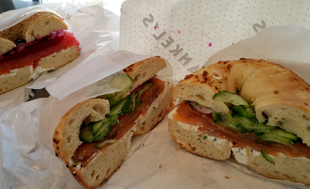 Loaded bagel sandwiches from Frankel's in Brooklyn