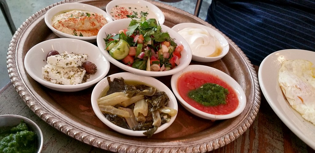 Mediterranean mezze small plates from Cafe Mogador in Brooklyn