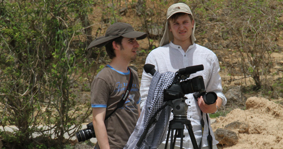 FLTR: Manuel Pater and Tamas Hodik, students at the University of Applied Sciences OWL, while taking shots in Salalah