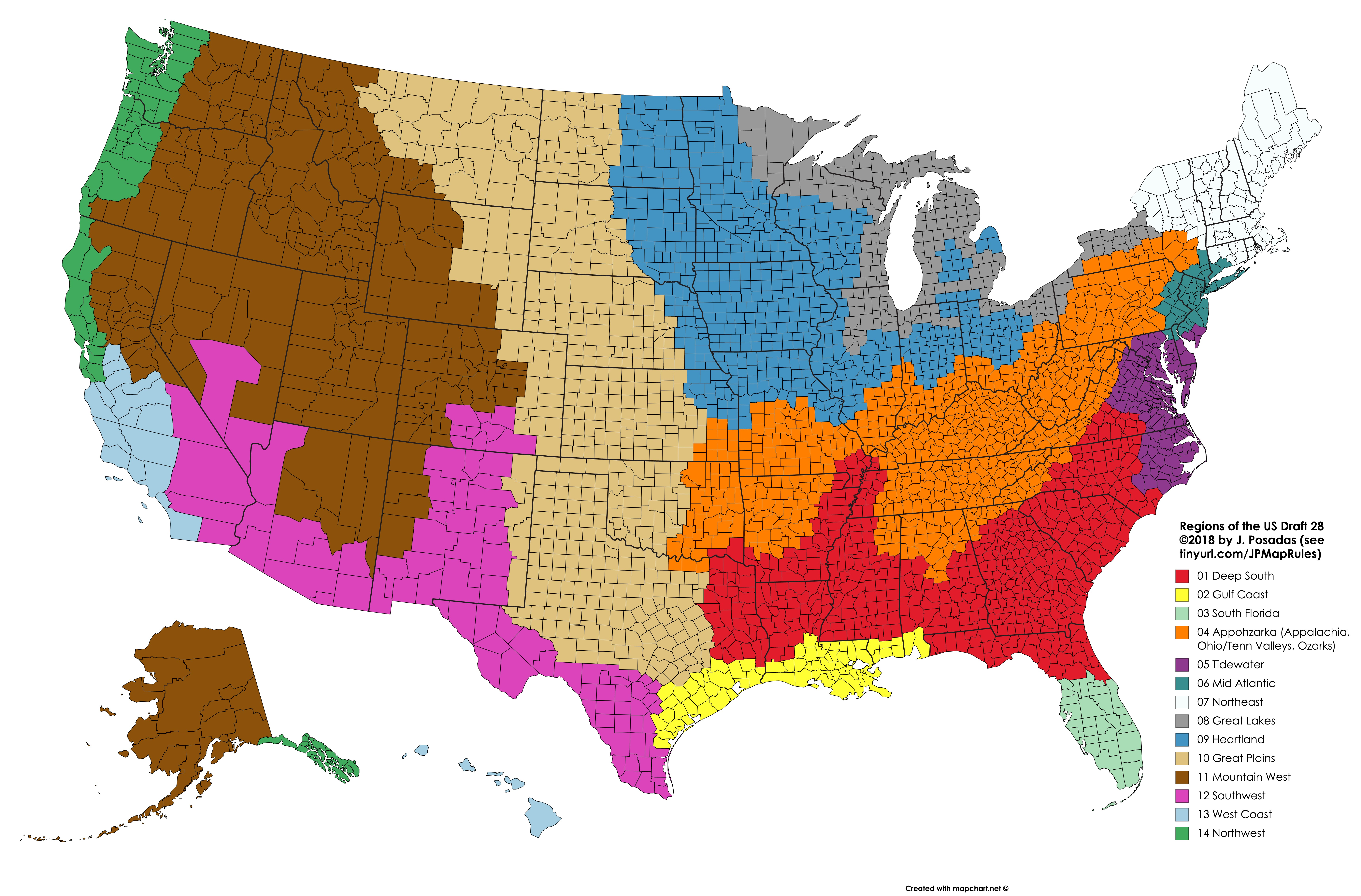 I Made A Map Of The Regions Of The U S