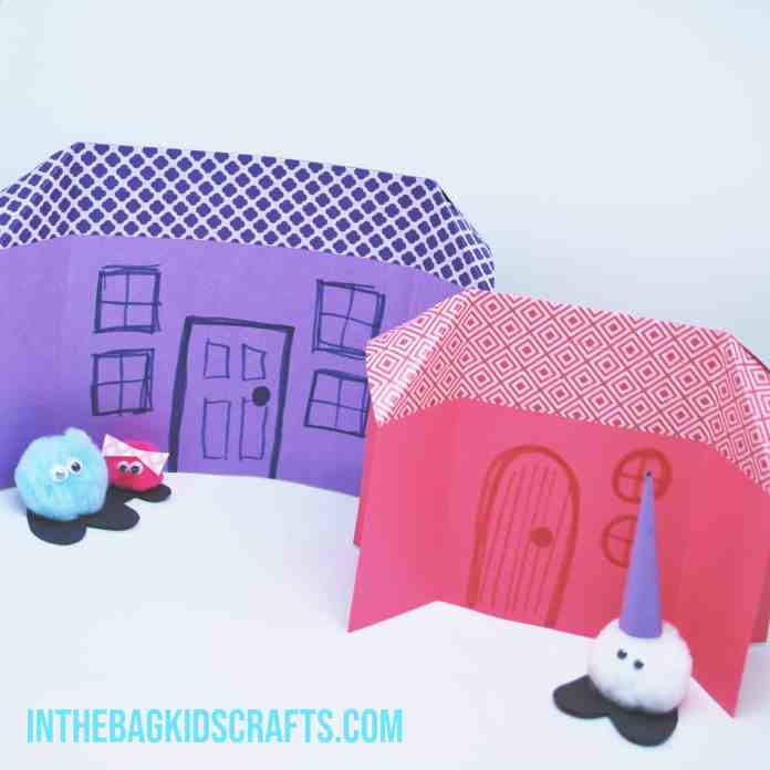 paper houses with pompom critters