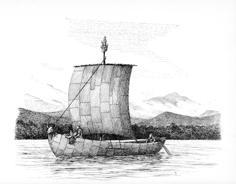 Ancient Irish skin boat engraving - ancestor of the curragh