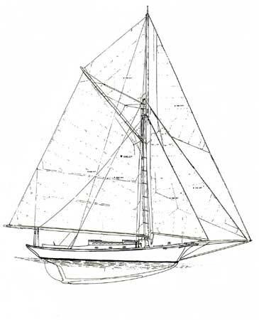 Friendship sloop Black Star sail plan
