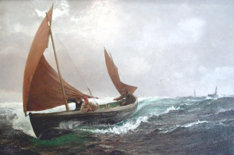 Charles Napier Hemy RA, painting Running for Home