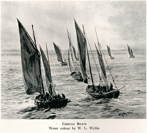 Fishing boats painted by Wyllie